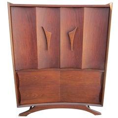 Fabulous Sculptural Walnut Tall Dresser Mid-Century Modern