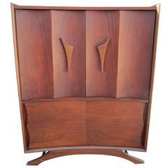 Fabulous Vladimir Kagan Style Sculptural Walnut Tall Dresser Mid-Century Modern