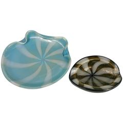 Two Cased Murano Glass Bowls, Aventurine Stripes, by Alfredo Barbini