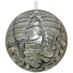 Massive Doria Organic Patterned Smoke Toned Glass Globe