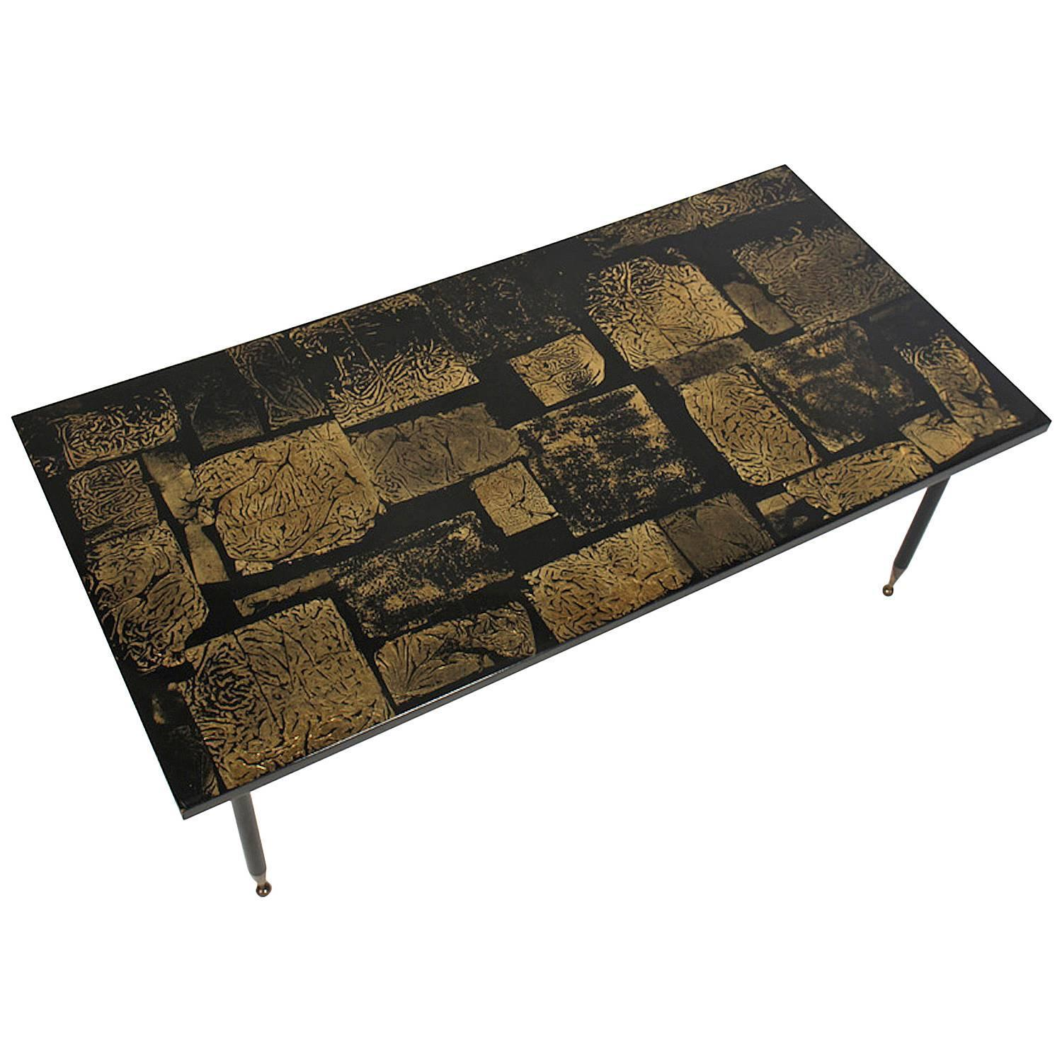 Italian Mid-Century Modern Gold Coffee Table For Sale At