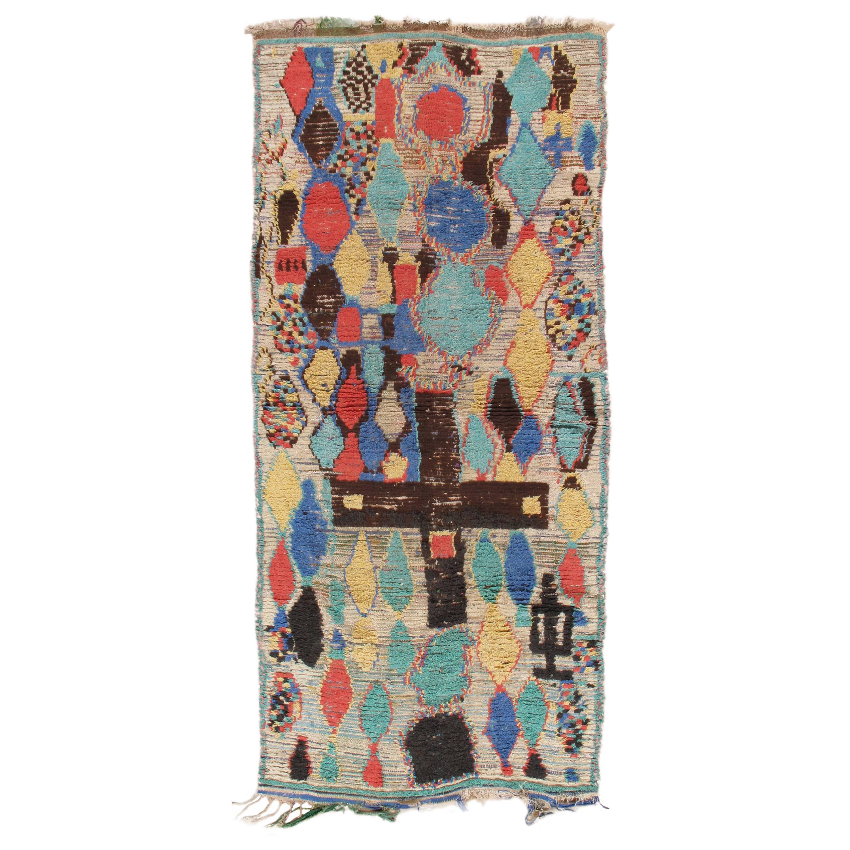 "Vintage Colorful Moroccan Rug, handmade unique design,fine weave/wool 4'6""x9'10"""
