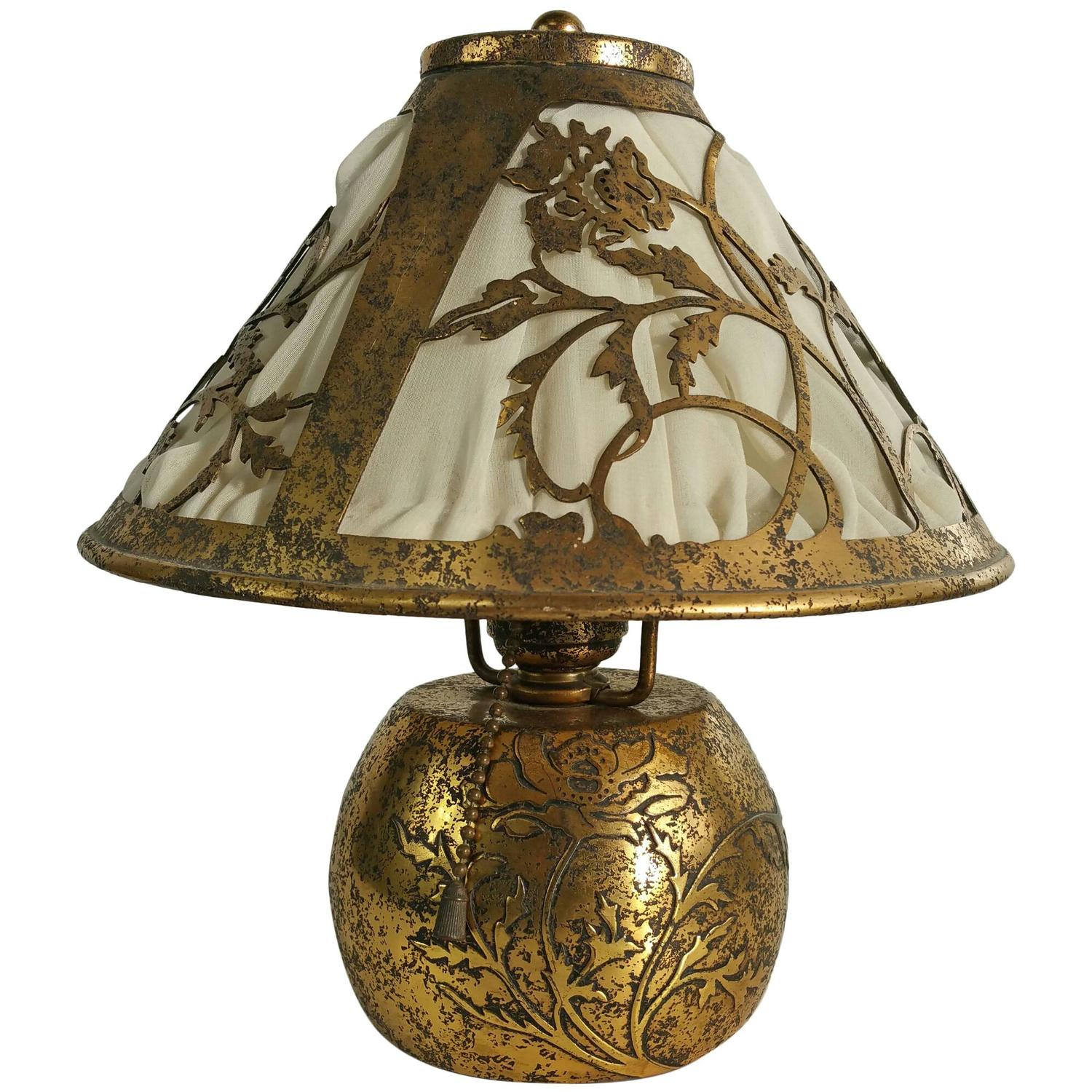 Classic Arts and Crafts Boudoir Lamp, Silver over Bronze, by ...