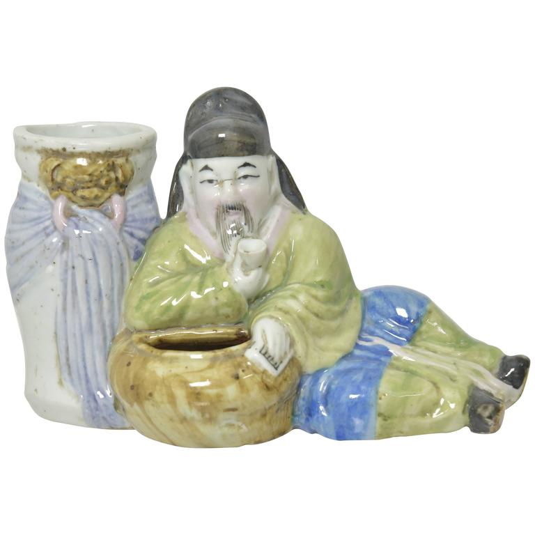Chinese Porcelain Figural Brush Pot or Brush Washer For Sale