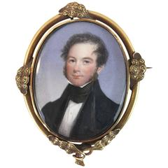 American Classical Miniature Portrait of a Gentleman