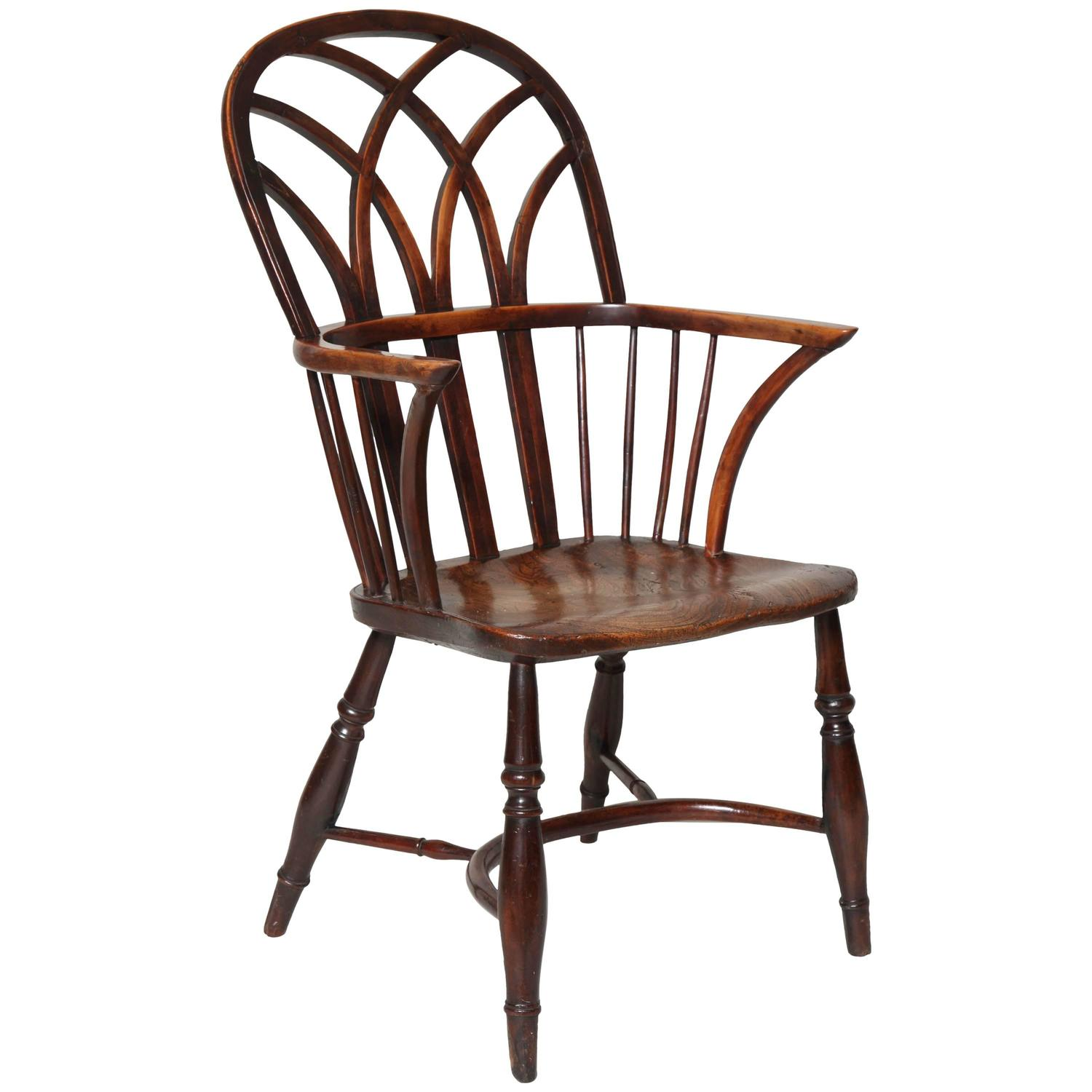 Fine Early 19th Century Yew Wood Regency Gothic Windsor Armchair