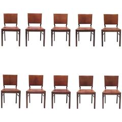 Set of Ten Dining Chairs in Mahogany and Nigerian Goatskin by Frits Henningsen