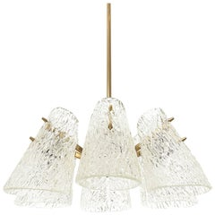 Kalmar Chandelier, Textured Glass and Brass, 1960