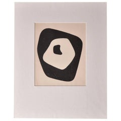 "Jean Arp ""Silent Tension"" Woodcut, Paris, 1951, with Hand Signed Colophon"