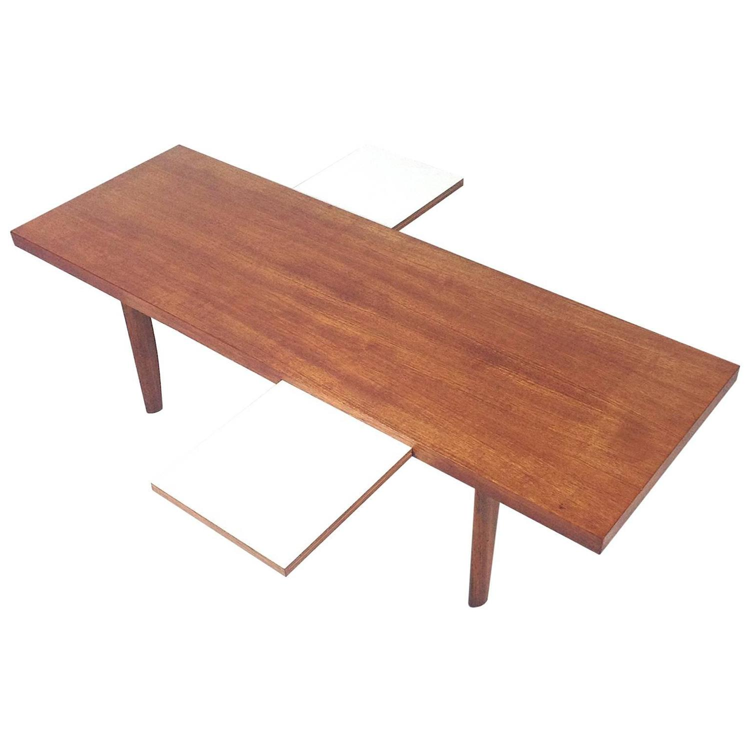 1960s scandinavian coffee table with extractable white leaves at 1stdibs. Black Bedroom Furniture Sets. Home Design Ideas