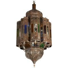 Vintage Moroccan Mamounia Glass Moorish Lantern