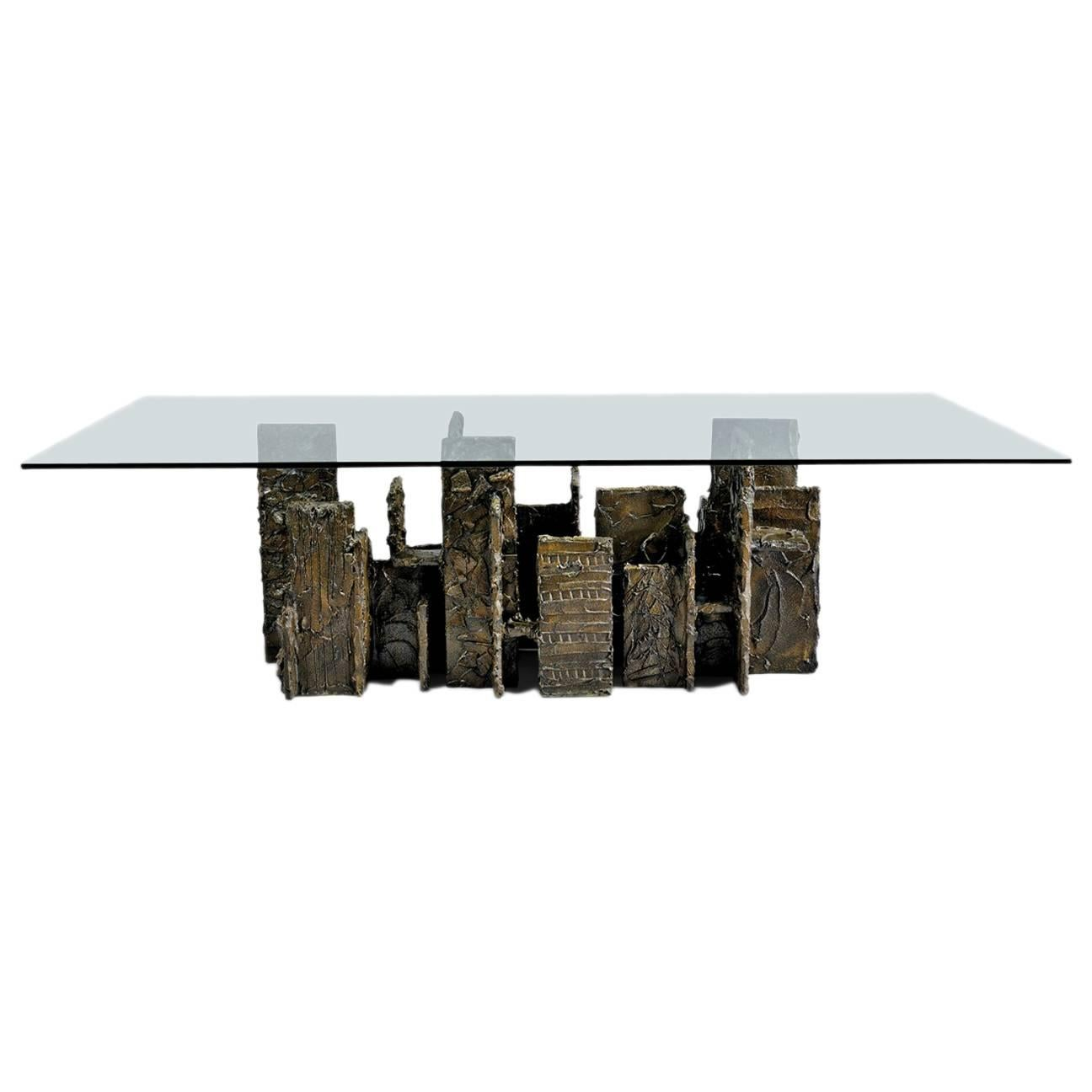 Exceptional Sculpted Bronze Dining Table by Paul Evans