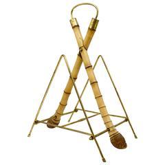 Austrian Modernist Bamboo Brass Magazine Rack News Stand, 1950s
