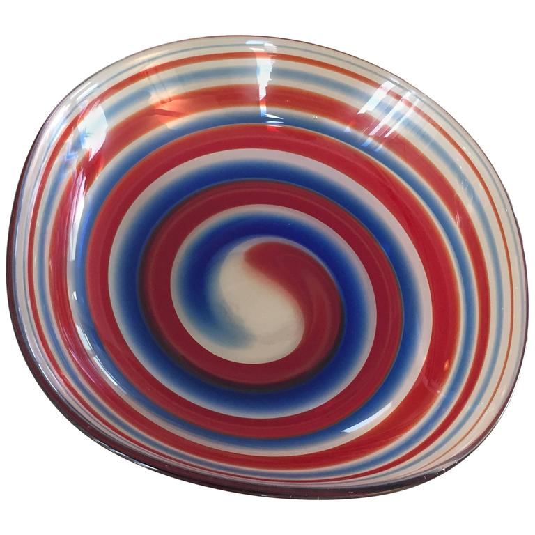 Rare Bowl by Fulvio Bianconi for Venini, Signed