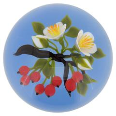 Large Victor Trabucco Red Berries and Flower Blossoms Glass Paperweight