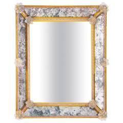 Italian Venetian Rectangular Mirror, Blown Murano Glass Pauly & Co, 1950s