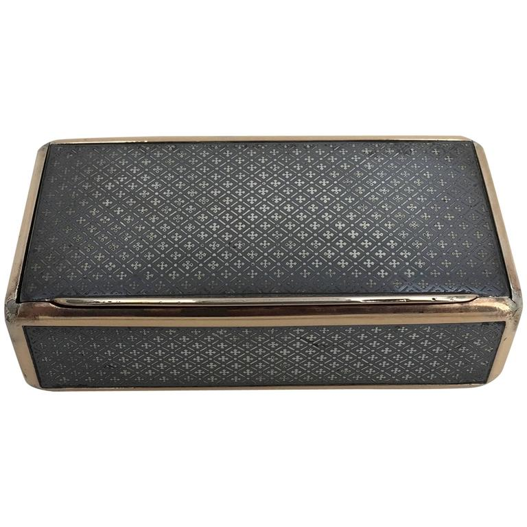 Continental Niello and Silver Gilt Snuff Box, Early 19th Century For Sale