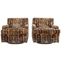 Pair of Large Swivel Club Chairs with Original Fabric