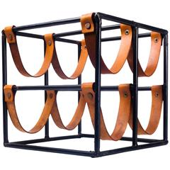 Vintage Wine Rack by Arthur Umanoff for Raymor in Leather Straps and Iron, 1950s