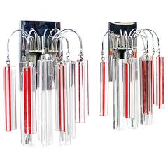 Pair of Italian Venini Sconces Red and White glass with Chrome Frame, 1960s