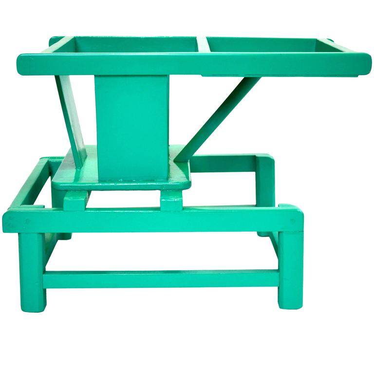 Mid-Century Modern Tot Play Chair in Teal Lacquered Wood  For Sale