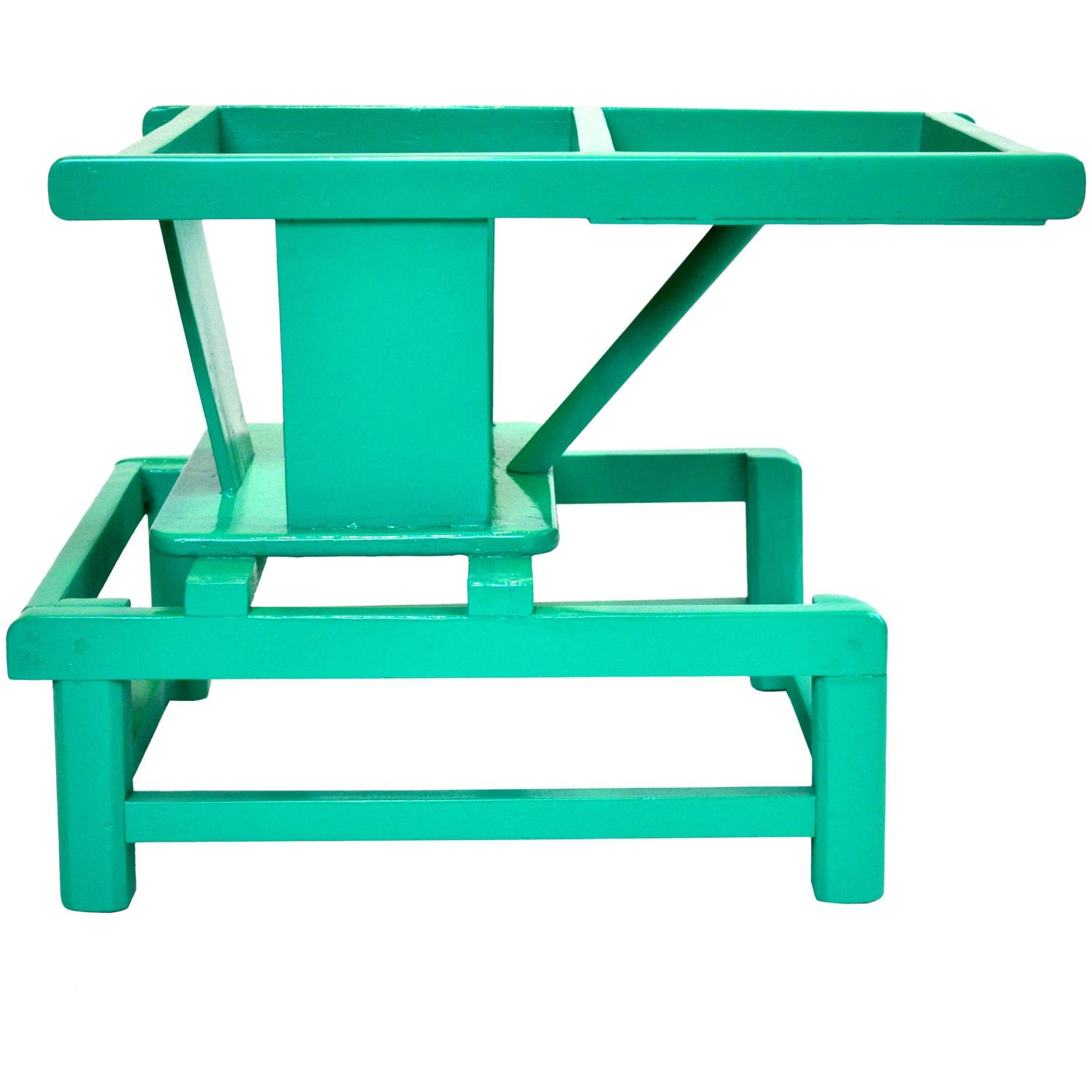 Mid century modern tot play chair in teal lacquered wood for Teal chairs for sale