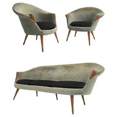1950s Wool Brass and Teak Danish Sofa and Easy Chairs Attributed to Nanna Ditzel
