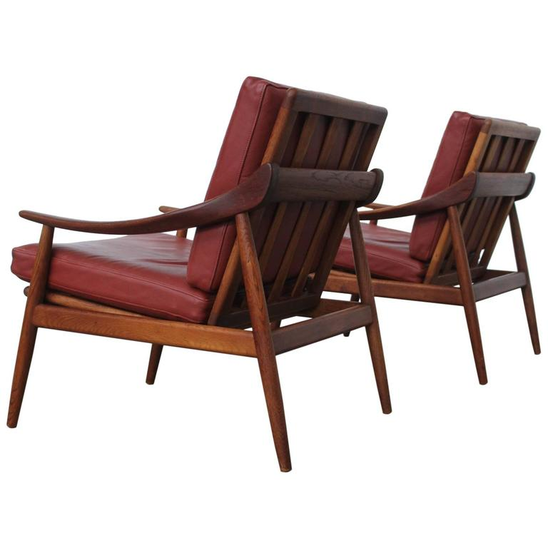 Rare Pair of Kurt Ostervig for Jason Møbler Leather and Teak Lounge Chairs