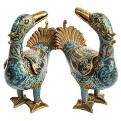 Pair of early 20th C. Cloisonne Ducks