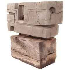 Concrete Nail and Wood Sculpture by Rick Lussier