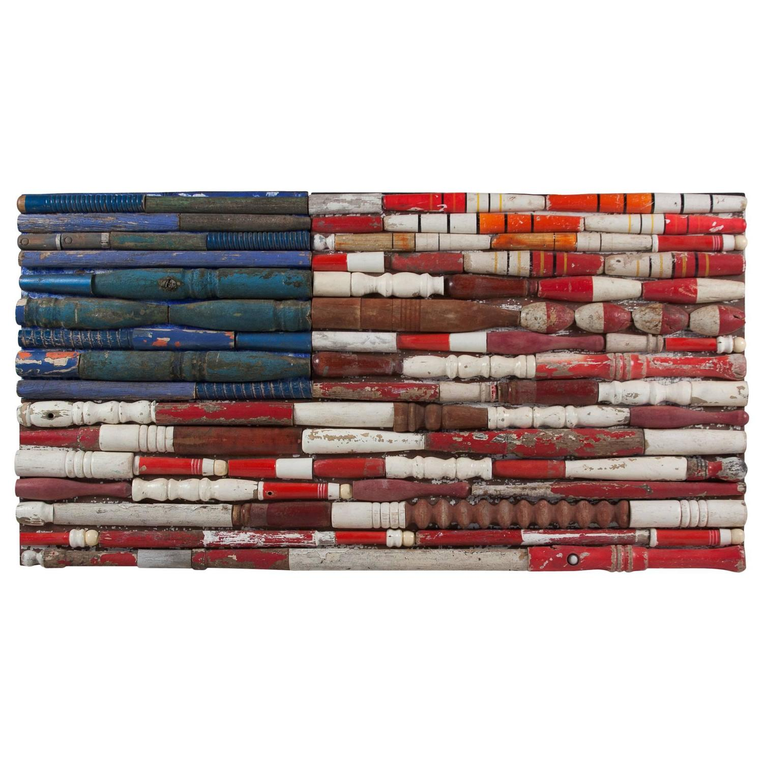 Folk Art Assembled Wood American Flag By Larry Simons At