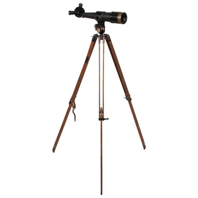 A WWI era triple turret tripod mounted monocular E. Krauss of Paris, circa 1917.