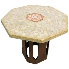 Midcentury Octagon Terrazo and Walnut Side Table by Harvey Probber