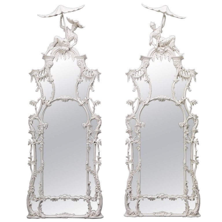 Pair of Pagoda Pier Mirrors For Sale