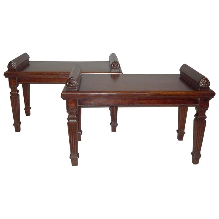 Late Regency Pair of Mahogany Hall Seats
