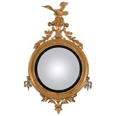 Large Regency Carved Giltwood Girandole Convex Mirror