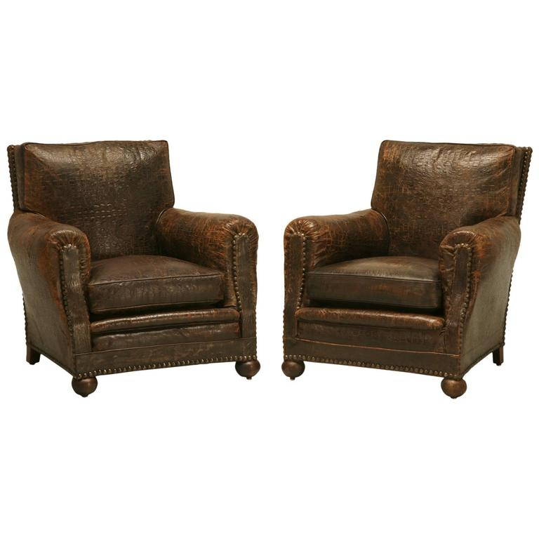French Leather Club Chairs In Faux Crocodile For Sale
