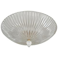Reeded Murano Ceiling Fixture in White