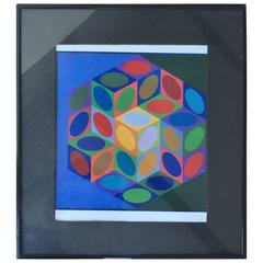Series 1977 Victor Vasarely Colorful Optic Silkscreen