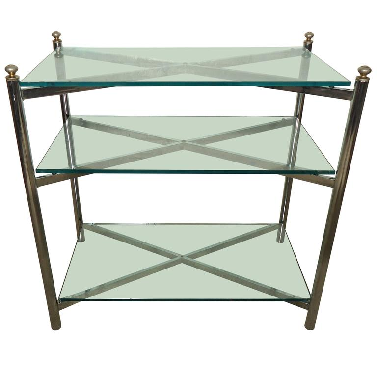 brass console table. Midcentury Mastercraft Style Chrome And Brass Console Table A