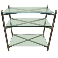 Midcentury Mastercraft Style Chrome and Brass Console Table