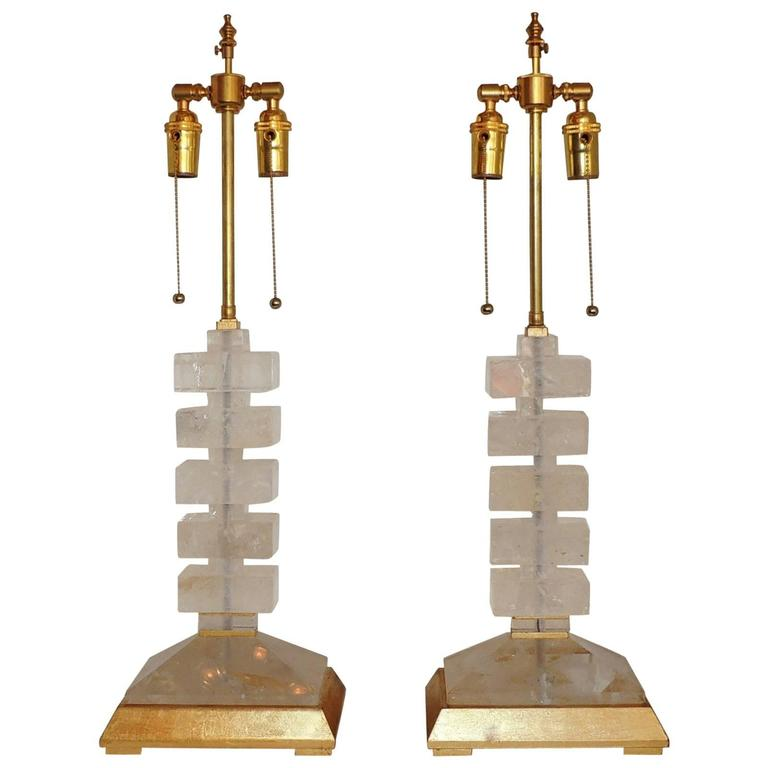 Modern Transitional Jansen Deco Pair of Gilt and Rock Crystal Bagues Lamps 1