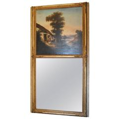 19th Century Painted Trumeau Mirror Panel