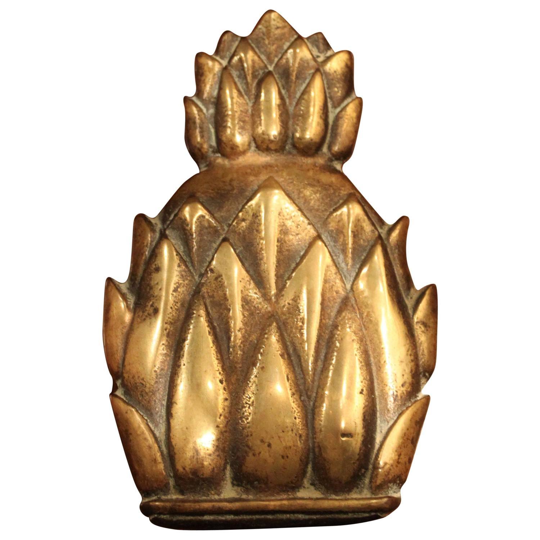 Antique brass pineapple door knocker 19th century england at 1stdibs - Pineapple door knocker ...