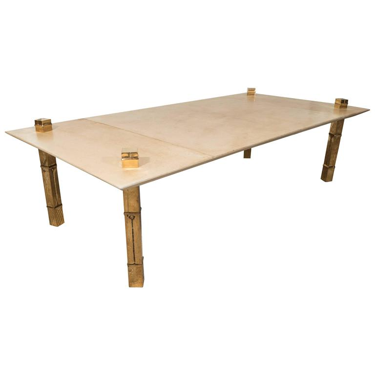 Maison jansen attributed parchment coffee table with gold metal legs at 1stdibs Gold metal coffee table