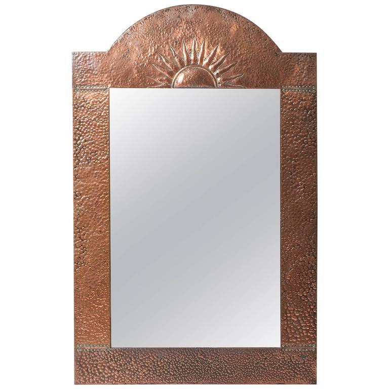 Arts and Crafts copper mirror, England circa 1900