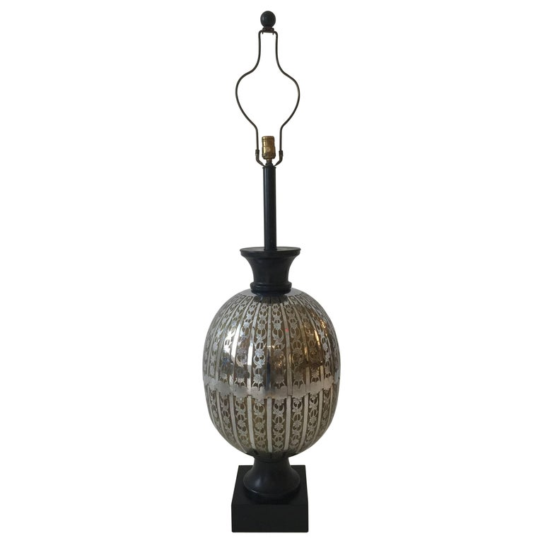 Oversized Stencil-Cut Metal Lamp For Sale