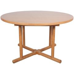 Oak Round Extension Table in the Style of Charlotte Perriand