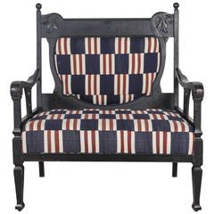 Edwardian Salon Small Settee Upholstered in Vintage African Fabric