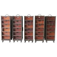 Early 20th Century American Industrial Metal and Wood Double Sided Shelves